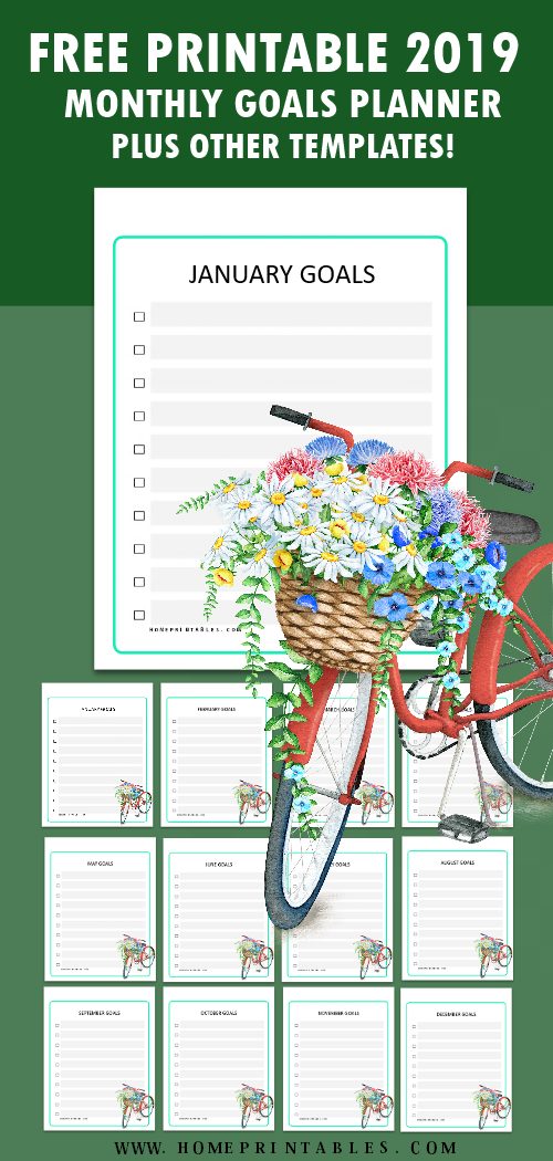 2019 monthly goals planner free printable