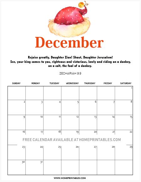 December calendar with Bible scripture