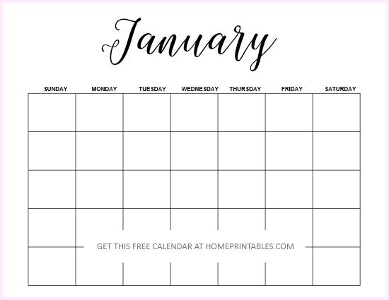 January 2019 blank calendar editable