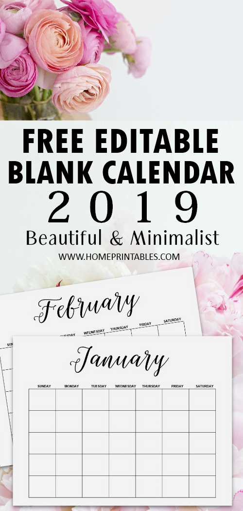 blank calendar 2019 free printable