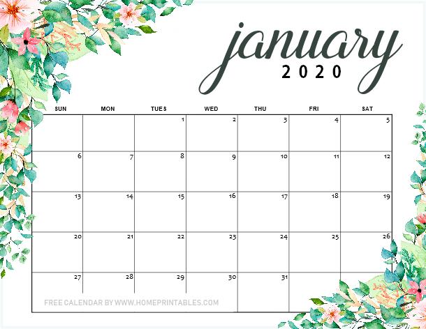free printable January 2019 calendar