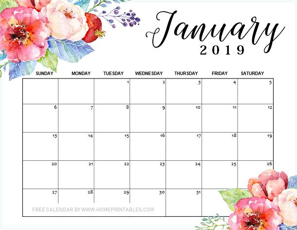 January 2019 calendar printable free