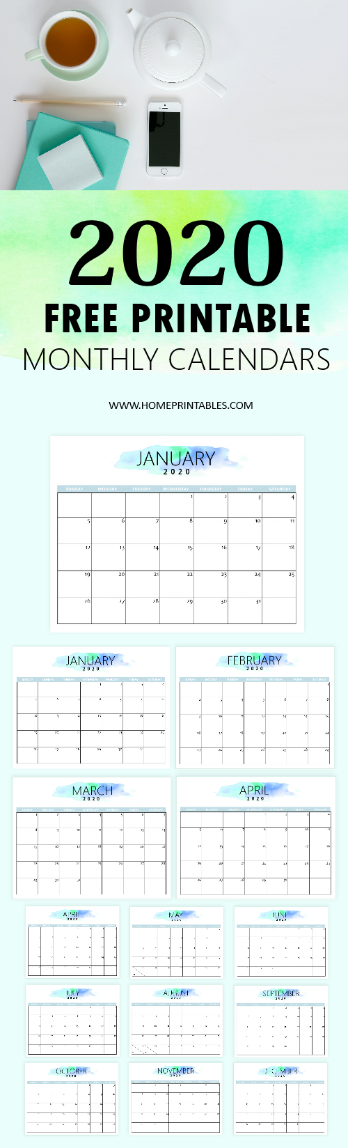 Download this f2020 calendar printable for free! Great to use in your home and office. With it, you cam easily organize your to-do's, meal plans and so much more! #calendar #2020 #free