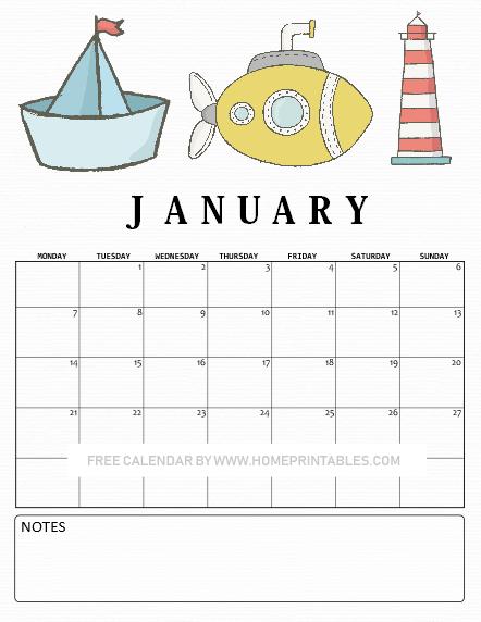 January calendar 2019 printables