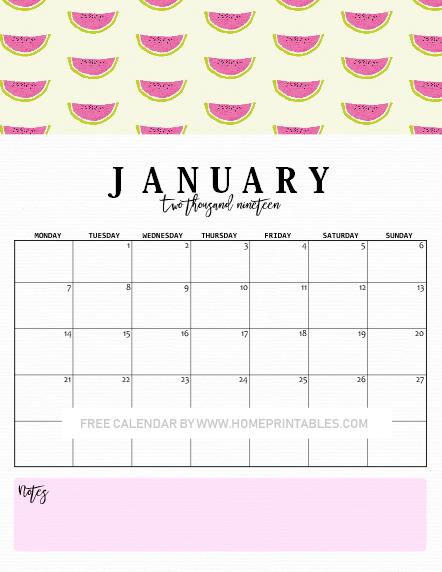 January calendar 2019 downloadable