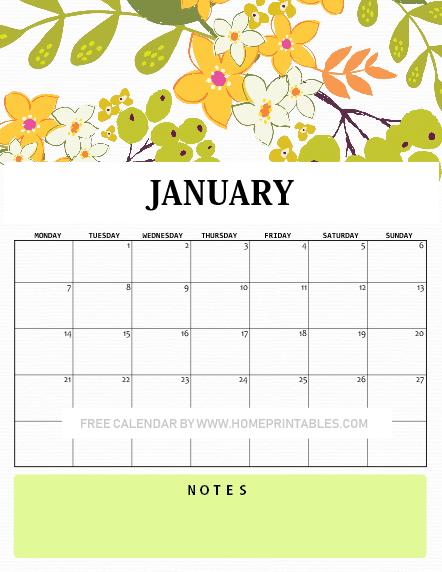January calendar 2019 floral