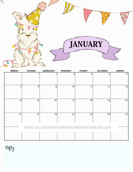 January calendar 2019
