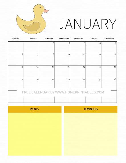 January calendar cute