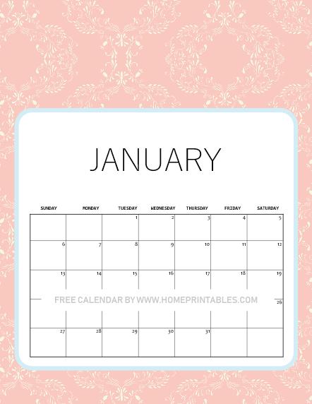 January calendar 2019 pink