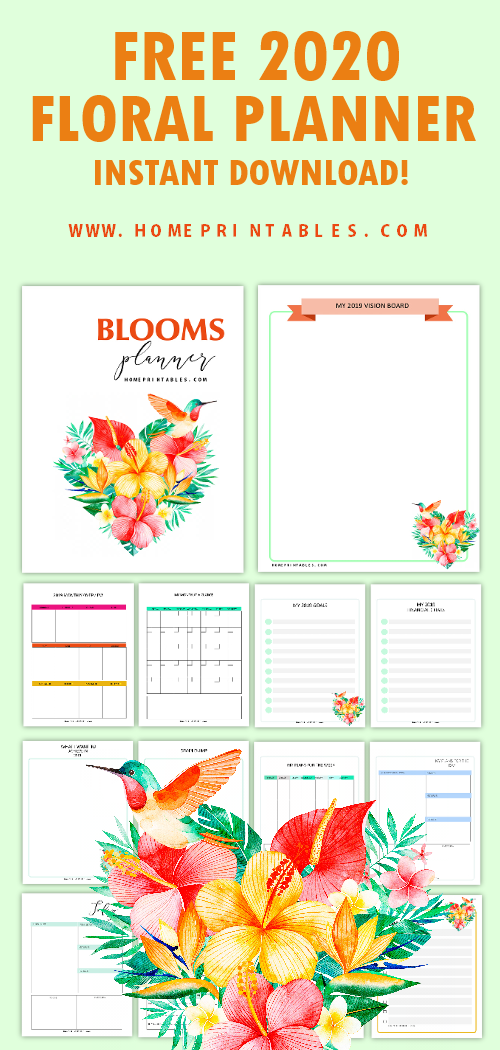 Click to download beautiful 2020 monthly calendar and floral planner with over 40 printable pages to love! #2020 #planner #planner2020 #freeprintable