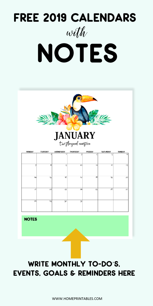 2019 monthly calendar with notes