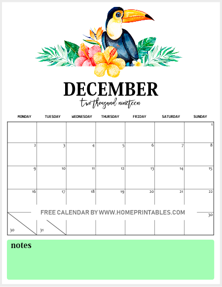 December Printable Monthly Calendar 2019
