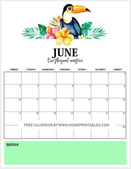 June Printable Monthly Calendar 2019