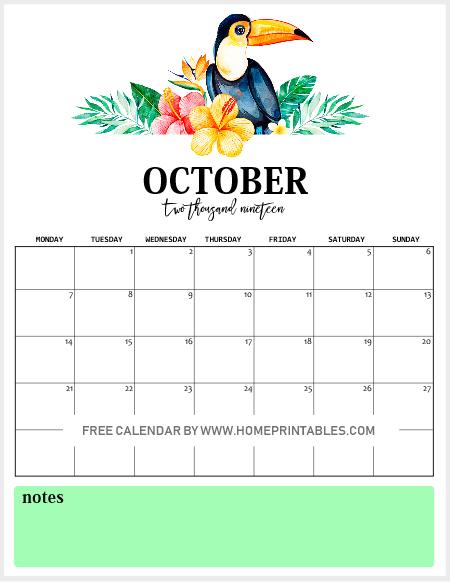 October 2019 Calendar Freebie