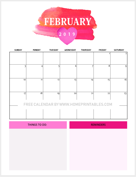 free printable February 2019 calendar Valentine theme