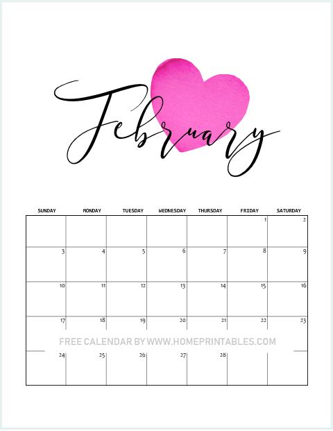 Valentine February 2019 calendar