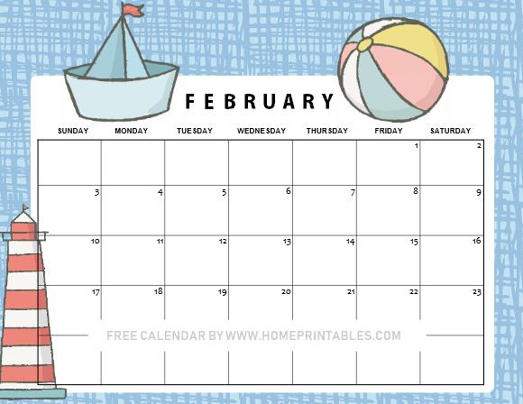 cute free printable February 2019 calendar for kids