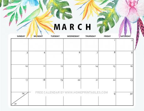 printable March 2019 calendar floral
