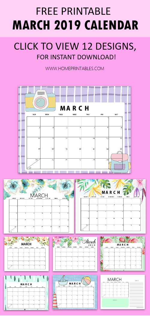 March 2019 calendar printable