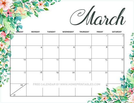 free printable March 2019 calendar floral