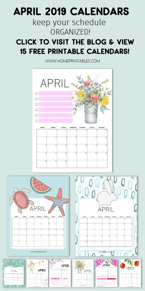 April 2019 calendar free printable