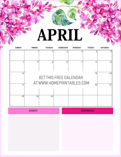 April 2019 calendar beautiful floral
