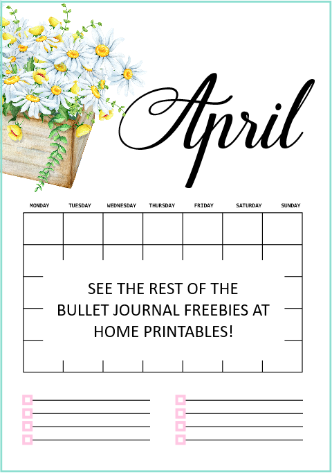 April calendar for bullet journal