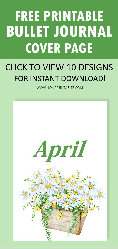 April bullet journal cover printables