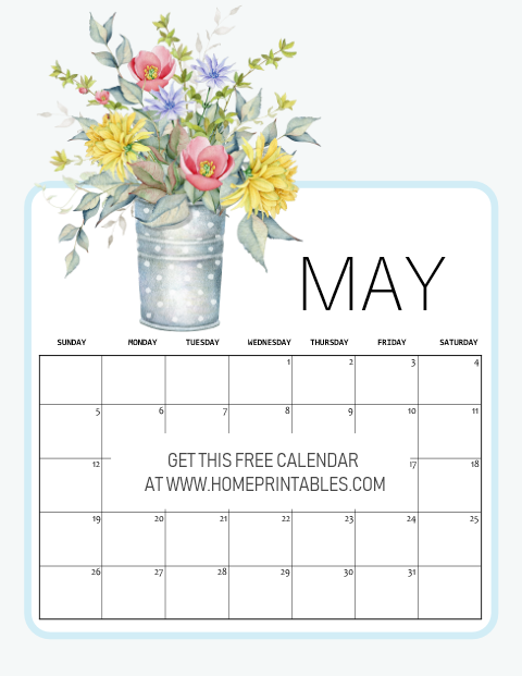 free printable May 2019 calendar spring theme