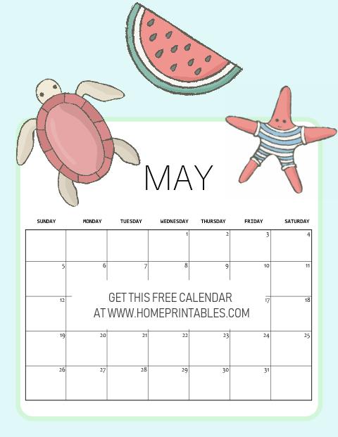 free printable May 2019 calendar kids