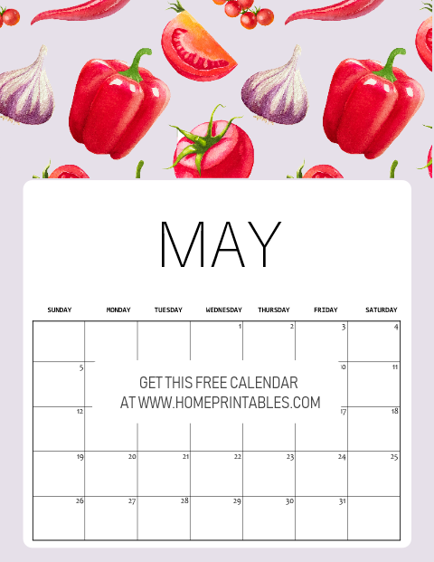 free printable May 2019 calendar kitchen recipe