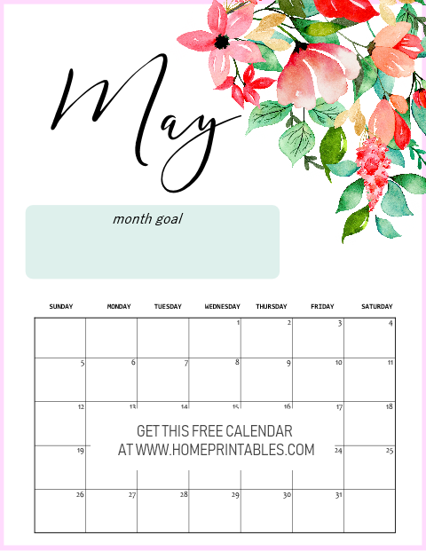 free printable May 2019 calendar floral