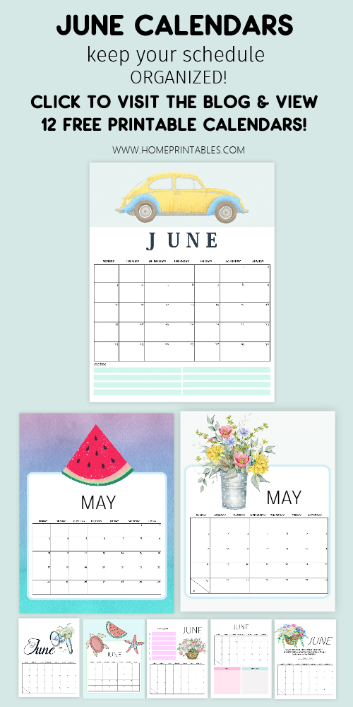 Download your June 2019 calendar free printables. Excellent to use to organize your schedules, events, goals, meal plans and more. Also includes school calendars for kids! #freeprintables #calendar #june