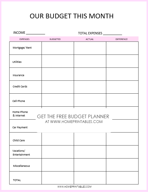Monthly expense tracker for free download