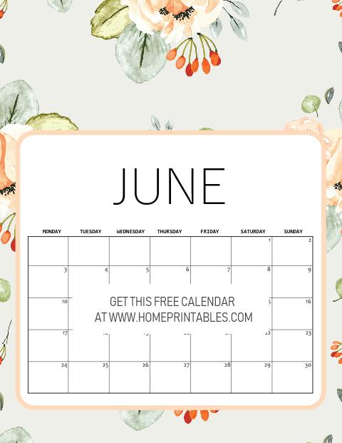 download June 2019 calendar