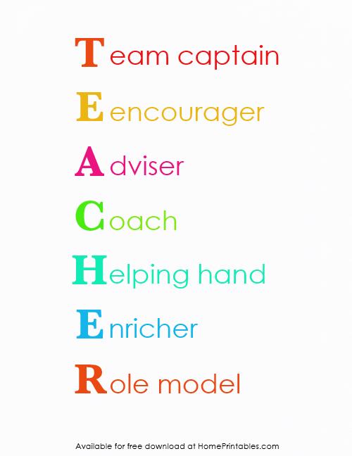 Teacher acronym and teacher quote