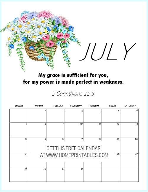 free printable July 2019 calendar with Bible vesre