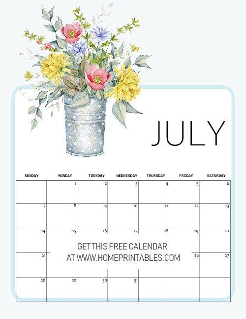 free printable July 2019 calendar planner