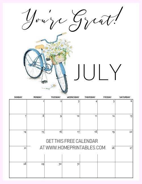 motivational free printable July 2019 calendar