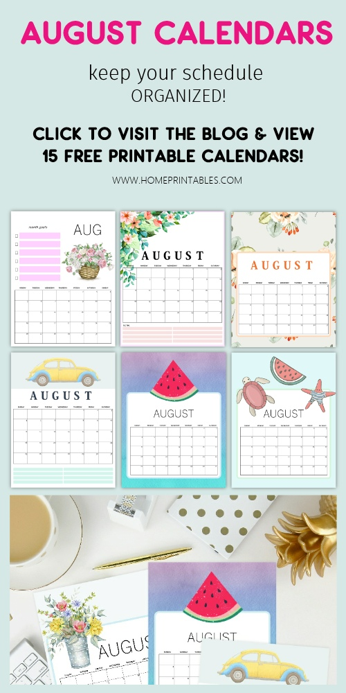 August calendar free printable