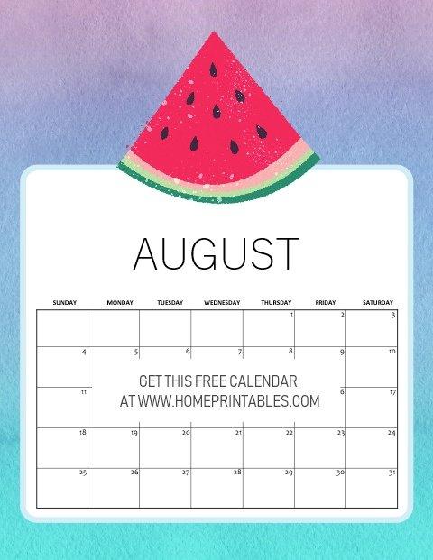 free printable August 2019 calendar kids