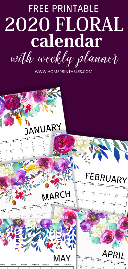 2020 calendar free printable in pretty florals