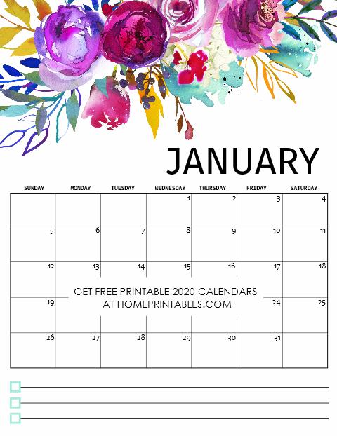 Free Printable January Calendar 2020