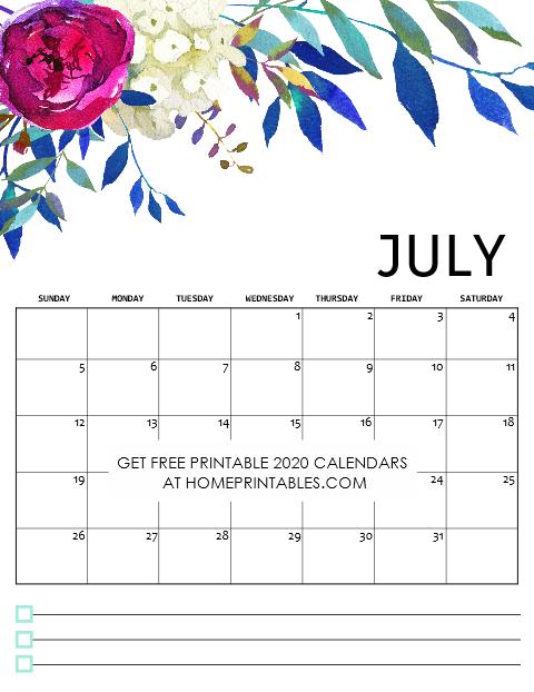 July Calendar 2020 Free Printable