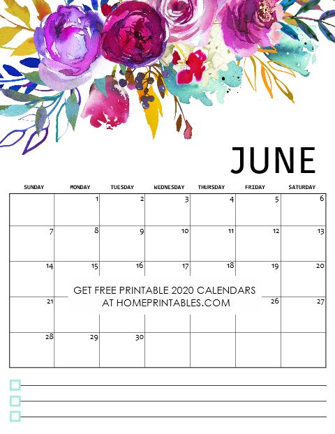 June Calendar 2020 Free Printable