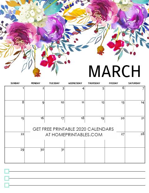 Printable March Calendar 2020