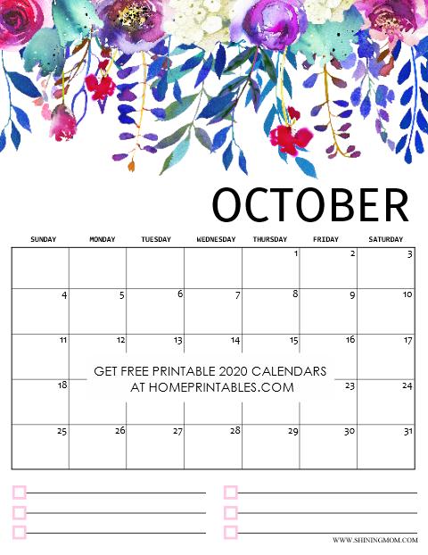 Printable October Calendar 2020