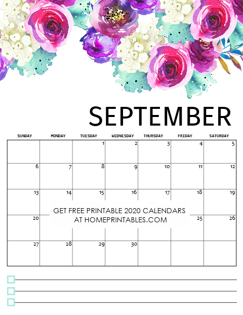 Free Printable September Calendar 2020