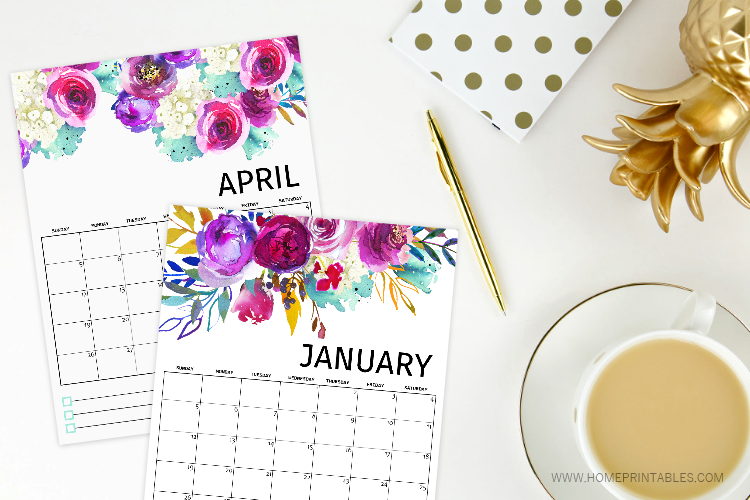 FREE Printable Calendar 2020 in the Most Beautiful Florals