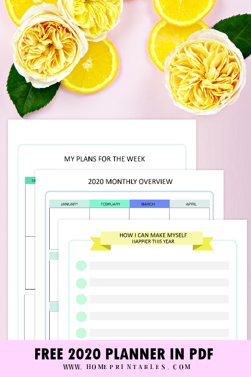 2020 printable planners for free download